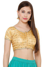 Load image into Gallery viewer, Gold Silk Blend Readymade Blouse (SSB2730-GOLD)