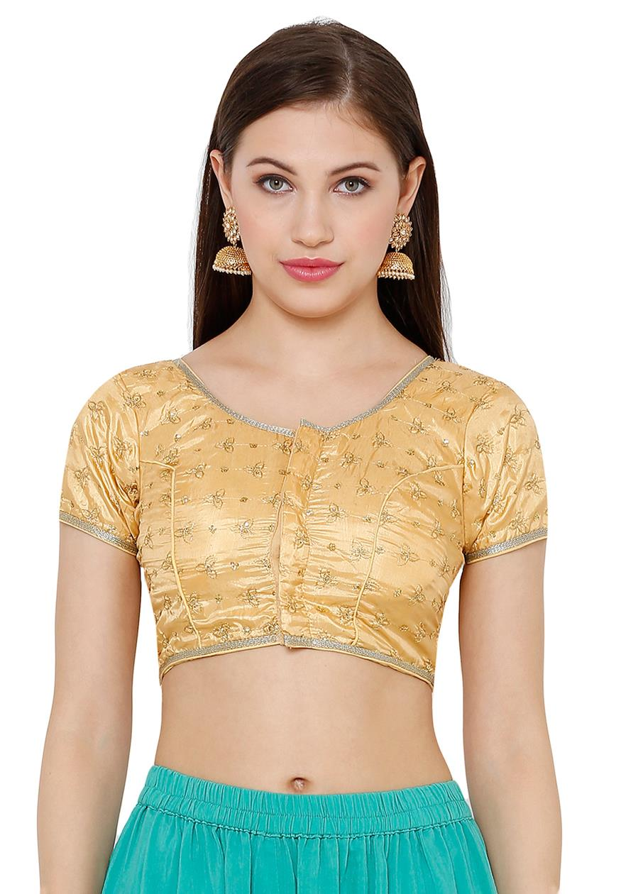 Gold Silk Blend Readymade Blouse (SSB2730-GOLD)