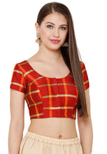 Load image into Gallery viewer, Red Silk Blend Readymade Blouse (SSB2734-RED)