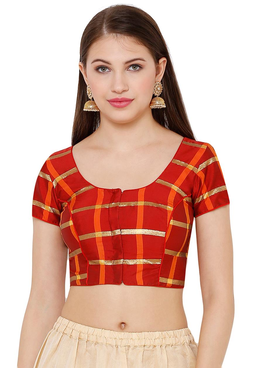 Red Silk Blend Readymade Blouse (SSB2734-RED)