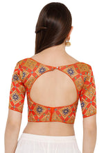 Load image into Gallery viewer, Orange Silk Blend Readymade Free Size Blouse (SSB2739-ORNG)