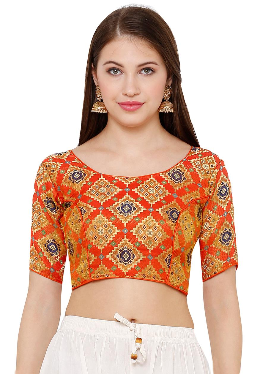 Orange Silk Blend Readymade Free Size Blouse (SSB2739-ORNG)