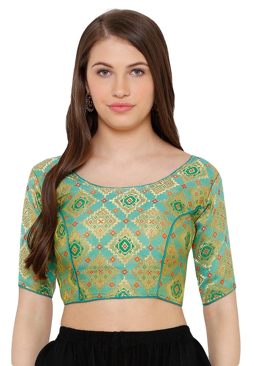 Pista Green Cotton Silk Readymade Free Size Blouse (SSB2741-PIGR)