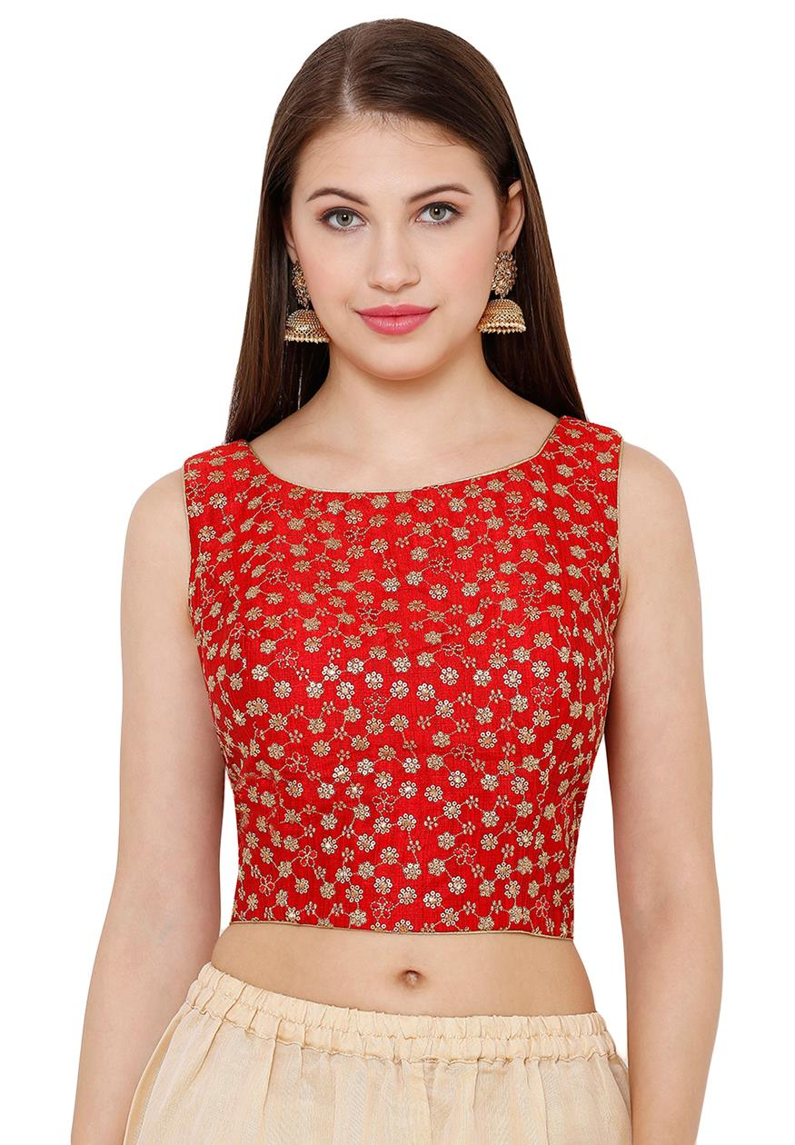 Red Silk Blend Readymade Blouse (SSB2774-RED)
