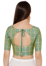Load image into Gallery viewer, Green Silk Blend Readymade Blouse (SSB2796-GREN)