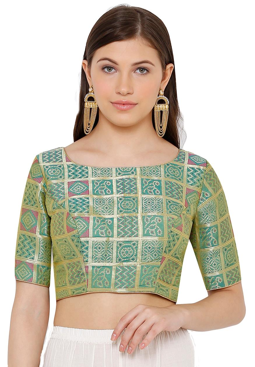 Green Silk Blend Readymade Blouse (SSB2796-GREN)
