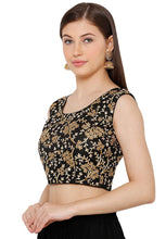 Load image into Gallery viewer, Black Silk Blend Readymade Free Size Blouse (SSB2813-BLCK)