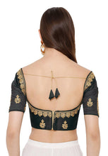 Load image into Gallery viewer, Black Silk Blend Readymade Free Size Blouse (SSB2837-BLCK)