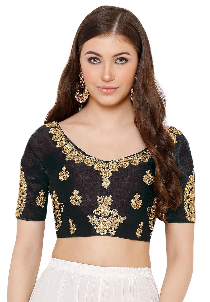 Black Silk Blend Readymade Free Size Blouse (SSB2837-BLCK)