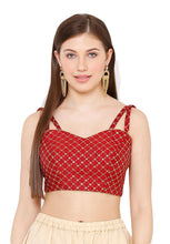 Load image into Gallery viewer, Maroon Dupion Silk Readymade Blouse (SSB2854-MRON)
