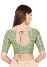 Load image into Gallery viewer, Rama Green Brocade Readymade Blouse (SSB2856-RMGR)