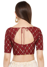 Load image into Gallery viewer, Maroon Silk Readymade Blouse (SSB2867-MRON)
