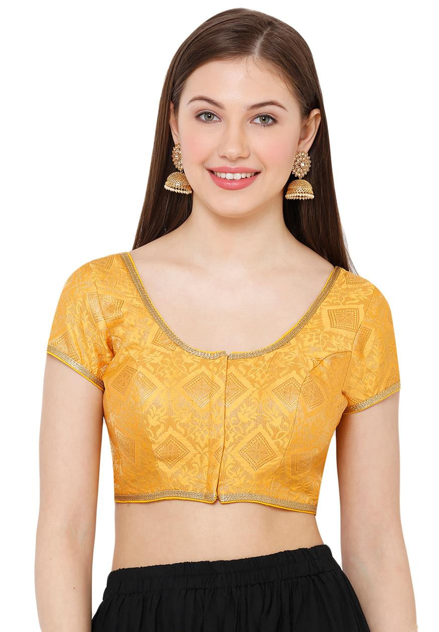 Yellow Brocade Readymade Blouse (SSB2888-YLLW)