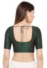Load image into Gallery viewer, Dark Green Mulberry Silk Readymade Blouse (SSB2916-DAGR)