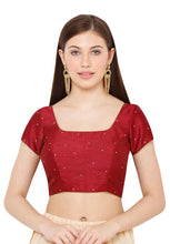 Load image into Gallery viewer, Maroon Dupion Silk Readymade Blouse (SSB2936-MRON)