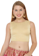 Load image into Gallery viewer, Gold Lycra Blend Stretchable Readymade Blouse (SSB2984-GOLD)