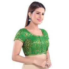 Load image into Gallery viewer, Green Jacquard Readymade Blouse (SSB2994-GREN)