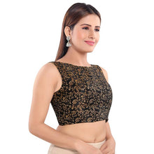 Load image into Gallery viewer, Black Jacquard Readymade Blouse (SSB3044-BLCK)