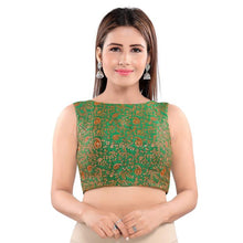 Load image into Gallery viewer, Green Jacquard Readymade Blouse (SSB3047-GREN)