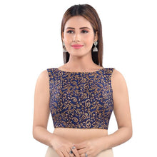 Load image into Gallery viewer, Navy Blue Jacquard Readymade Blouse (SSB3051-NVBL)