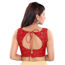Load image into Gallery viewer, Red Jacquard Readymade Blouse (SSB3054-RED)