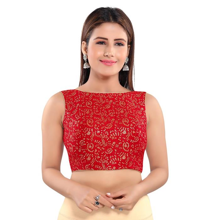 Red Jacquard Readymade Blouse (SSB3054-RED)