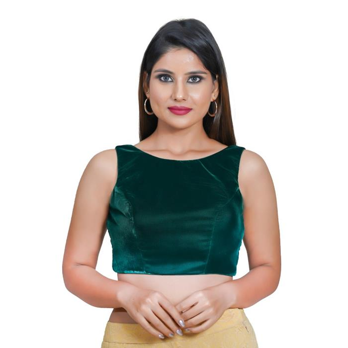 Bottle Green Velvet Readymade Blouse (SSB3057-BOGR)