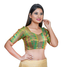 Load image into Gallery viewer, Green Jacquard Readymade Blouse (SSB3071-GREN)