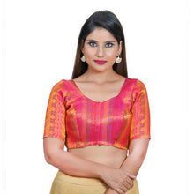 Load image into Gallery viewer, Tomato Pink Jacquard Readymade Blouse (SSB3076-TOPK)