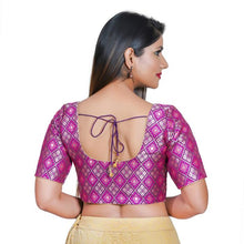 Load image into Gallery viewer, Brinjal Jacquard Readymade Blouse (SSB3100-BRJL)