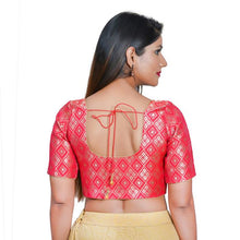 Load image into Gallery viewer, Pink Jacquard Readymade Blouse (SSB3101-PINK)