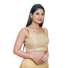 Load image into Gallery viewer, Gold Jacquard Readymade Blouse (SSB3118-GOLD)