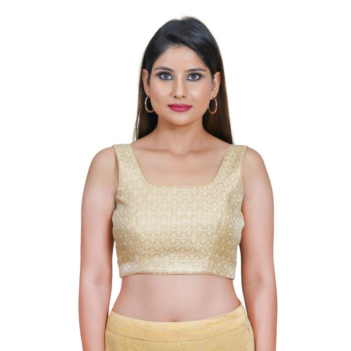 Gold Jacquard Readymade Blouse (SSB3118-GOLD)