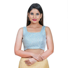 Load image into Gallery viewer, Sky Blue Jacquard Readymade Blouse (SSB3123-SKBL)