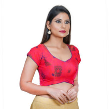 Load image into Gallery viewer, Tomato Pink Jacquard Readymade Blouse (SSB3130-TOPK)