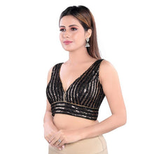 Load image into Gallery viewer, Black Gold Polyester Readymade Blouse (SSB3143-BLGD)