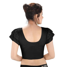 Load image into Gallery viewer, Black Lycra Blend Readymade Stretchable Blouse (SSB3145-BLCK)