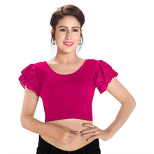 Load image into Gallery viewer, Pink Cotton Lycra Blend Readymade Stretchable Blouse (SSB3152-PINK)
