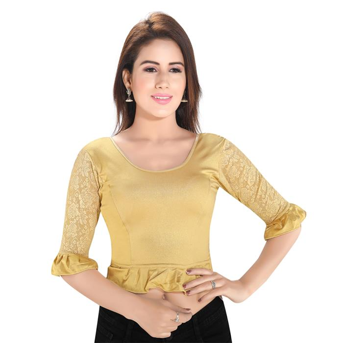 Gold Polyester Readymade Stretchable Blouse (SSB3155-GOLD)