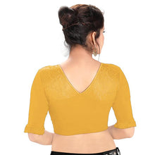 Load image into Gallery viewer, Gold Cotton Lycra Blend Readymade Stretchable Blouse (SSB3167-GOLD)