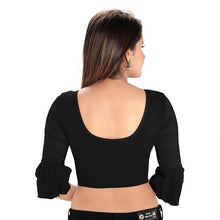Load image into Gallery viewer, Black Cotton Lycra Blend Readymade Stretchable Blouse (SSB3181-BLCK)
