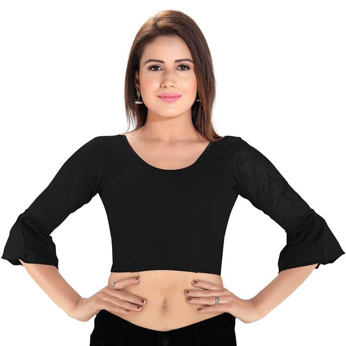 Black Cotton Lycra Blend Readymade Stretchable Blouse (SSB3181-BLCK)