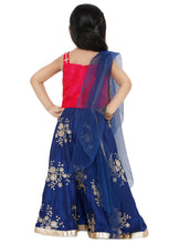 Load image into Gallery viewer, Navy Blue Poly Silk Readymade Lehenga Choli (SSKLC0004)