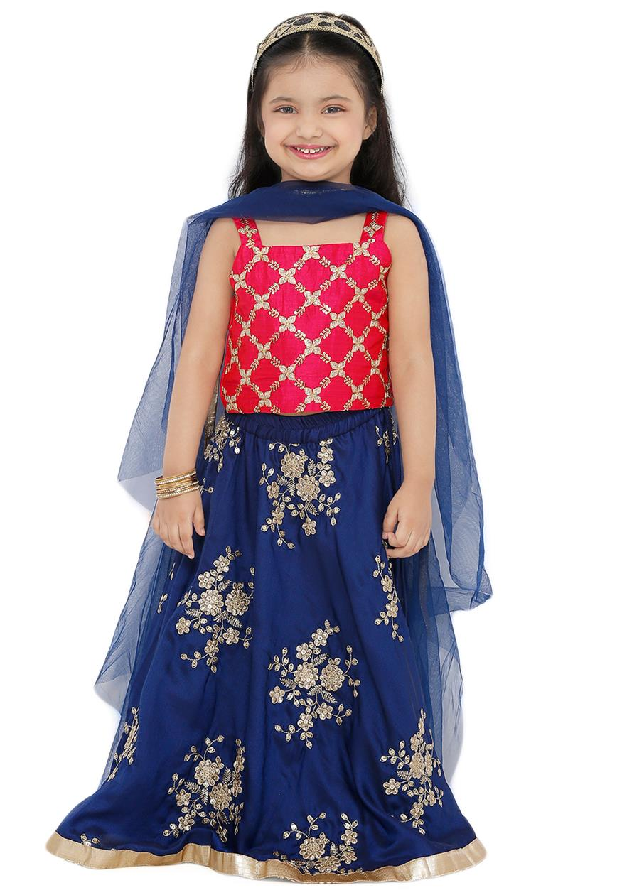 Navy Blue Poly Silk Readymade Lehenga Choli (SSKLC0004)