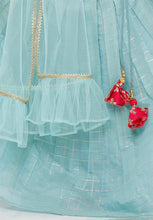 Load image into Gallery viewer, Sky Blue Cotton Blend Readymade Lehenga Choli (SSKLC0009)