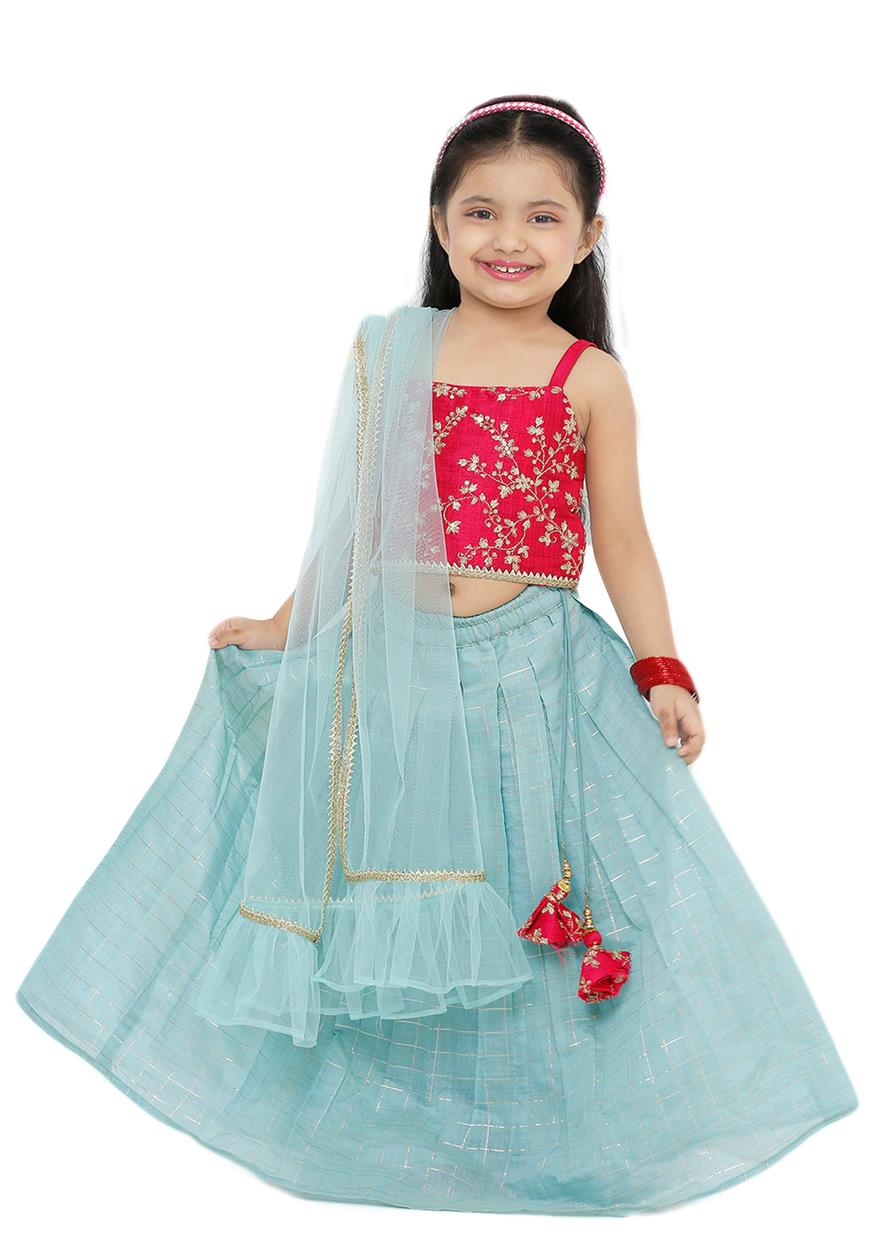 Sky Blue Cotton Blend Readymade Lehenga Choli (SSKLC0009)