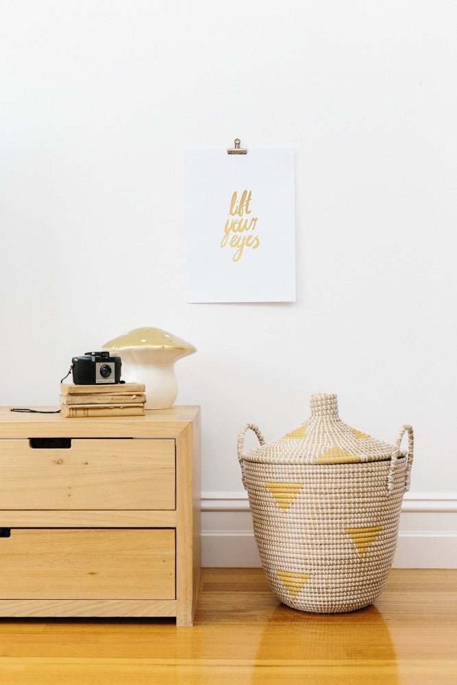 'Lift Your Eyes' Gold Foil Wall Print