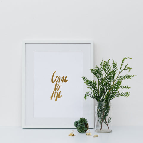 'Give Thanks' Gold Foil Wall Print