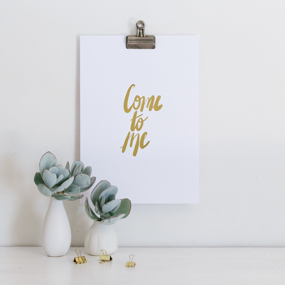Come to Me Gold Foil Wall Art