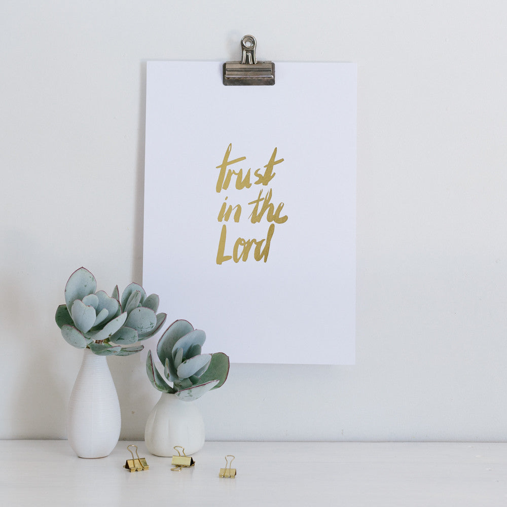 Trust in the Lord with all your Heart Gold Foil Wall Art